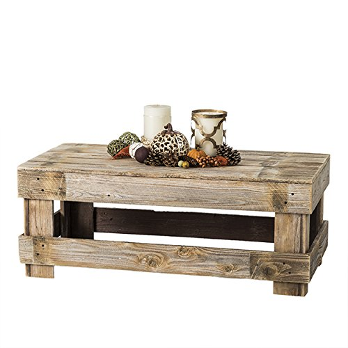 Del Hutson Designs Natural Reclaimed Barnwood Rustic Farmhouse Coffee Table, USA Handmade Country Living Decor (Natural)
