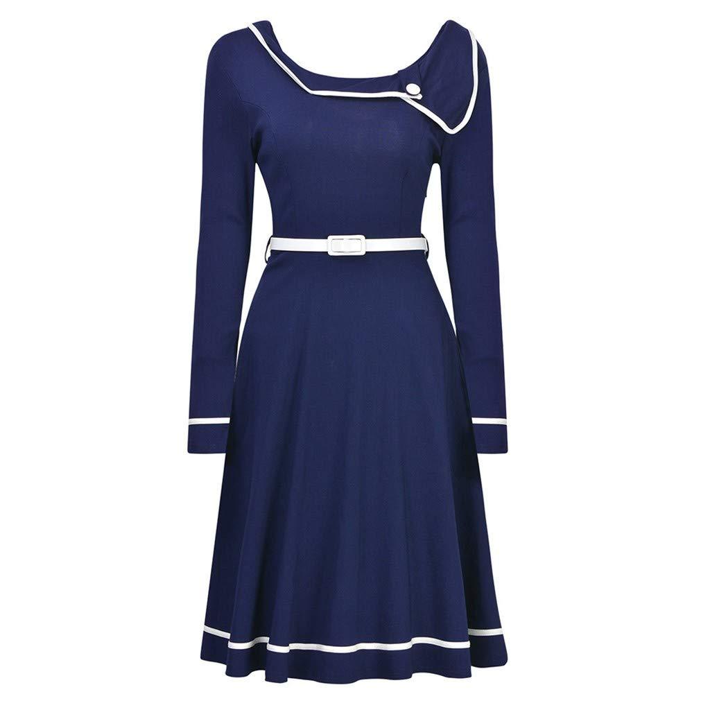 Alangbudu Womens Lapel Neck Party Dresses Dresses Swing A Line Dresses with Belt Blue