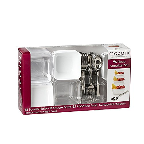 Mozaik Premium Plastic Mini Appetizer & Dessert Tasting Set, 96 pieces