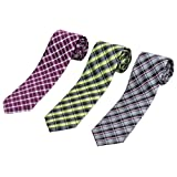 Set of 3 Elegant Neck Ties By Mens Collections (plaid)