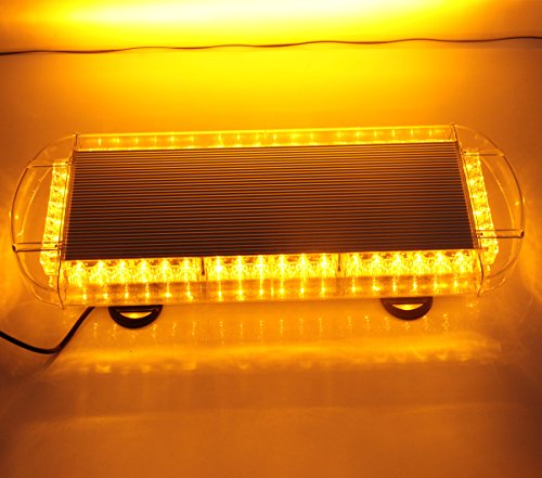 GPPOWER 48 LED AMBER High Intensity Law Enforcement Emergency Hazard Warning Flashing Car Truck Construction LED Top Roof Mini Bar Strobe Light with Magnetic Base (AMBER/AMBER)