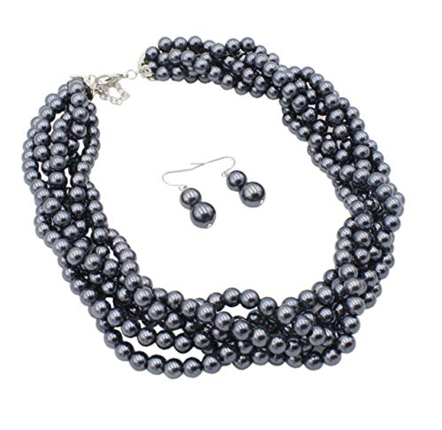 Shineland Twisted Multilayer Strand Faux Pearls Beads Cluster Choker Necklace And Earrings Set (Grey)