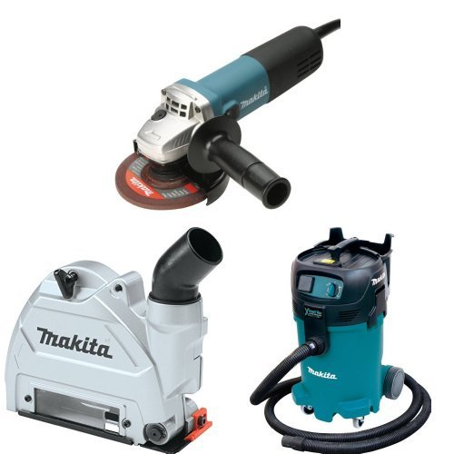 Makita 9564CV 4-1/2-Inch Angle Grinder  with Makita 196846-1 Dust Extracting Tuck Point Guard, 5 inch with Makita VC4710 12-Gallon Wet/Dry Vacuum