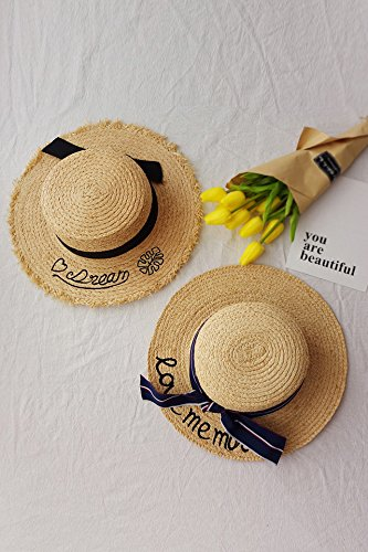 Top Raffia (Generic New Monogram Holiday sun hat raffia straw flattened along a small flat top hat Bow)