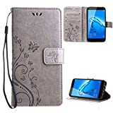 "Huawei nova plus Case , Leathlux [Stand Function ] Fashion Retro PU Leather Wallet Case Flip Protective Cover with Card Slots & Wrist Strap for Huawei nova plus 5.5"" Gray"
