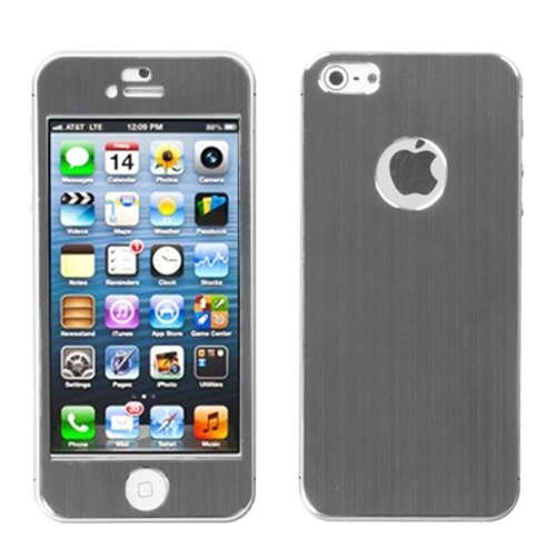 Grey brushedMETAL Decal Shield Back Protector Case Phone Cover for Apple iPhone 5 from MYBAT