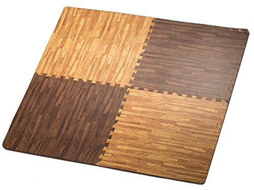 HemingWeigh Printed Wood Grain Interlocking Foam Anti Fatigue Floor Puzzle Mats - Makes a Superior Fitness, Workout and Exercise mat. Thick, Durable & Safe for All Ages - Set of 4 Tiles (Mix)
