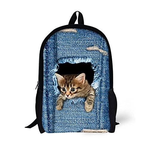 Sannovo Cute Denim Tea Cup Cats Blue Backpack for Kids School Book Bag Children's Gifts