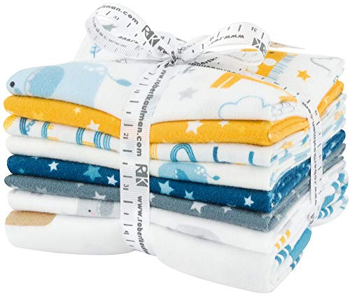 Lucy Belfield Welcome Baby Flannel Blue 7 Fat Quarters 1 Panel Robert Kaufman Fabrics FQ-1424-8