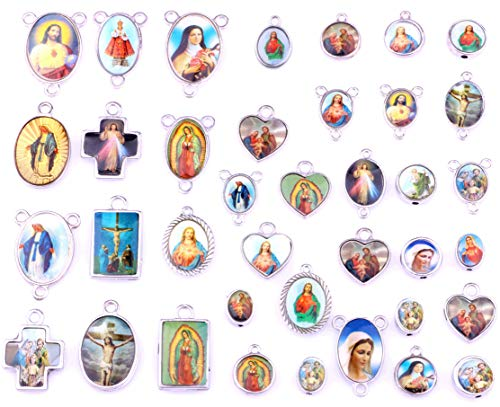 100pcs Mix Cross Jesus Virgin Mary Enamel Our Lady Miraculous Medal Rosary Bead Centerpiece Alloy Crucifix Pendants Charms Spacer Beads Connect for DIY Necklace Bracelet Jewelry Marking