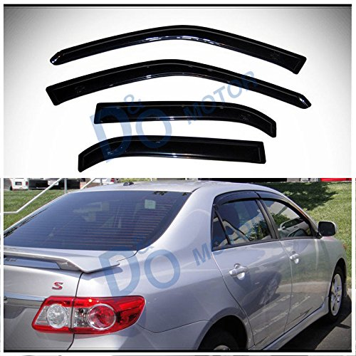 D&O MOTOR 4pcs Front+Rear Smoke Sun/Rain Guard Outside Mount Tape-On Vent Shade Window Visors For 09-13 Toyota Corolla