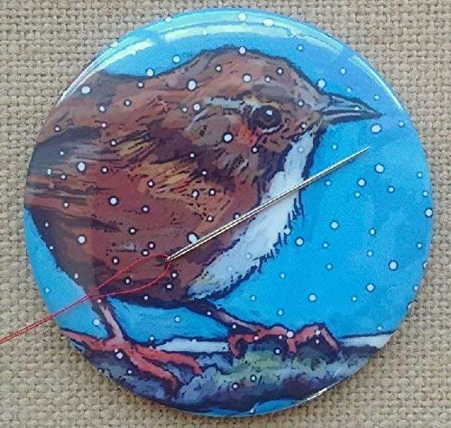 "Magnetic Needle Holder,""Pin Cushion"", 3.5"", Bird in Winter, Wren, Snowflakes, Art by Maker"