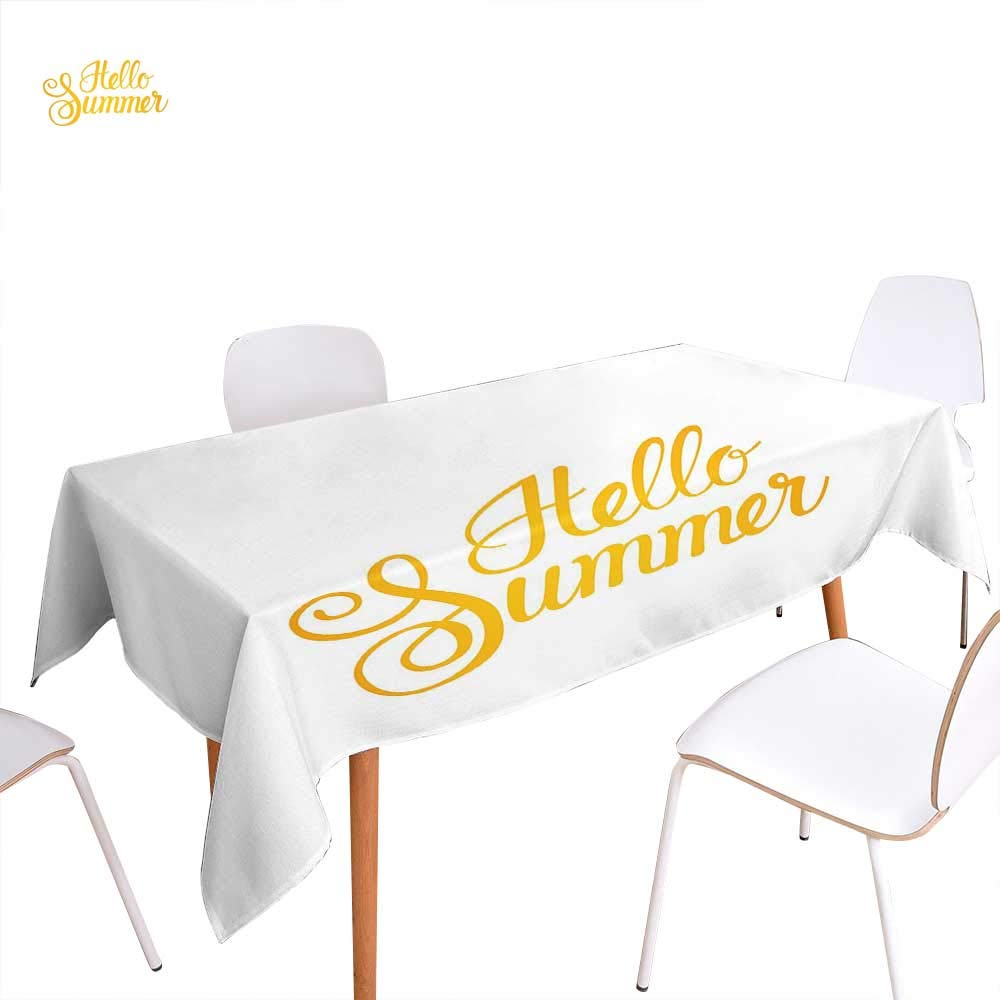 """familytaste Hello Summer Rectangular Tablecloth Hello Summer Phrase Print in Zesty Yellow Hand Lettering Calligraphic Design Oblong Wrinkle Resistant Tablecloth 50""""x80"""" Earth Yellow"""