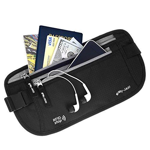 My-Jaxo Premium Waterproof RFID Slim Fanny Pack - Money Belt for Men and Women - Travel belt for Money and Passport Black or Grey