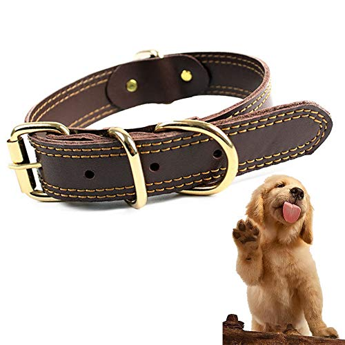 Sunny seat Genuine Leather Dog Collar with Buckle and D Rings - Small Large Pet Collar - Brown Soft Touch and Durable Real Cow Leather Collars for Pet Training Outdoors
