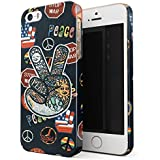 Glitbit iPhone 5 / 5s / SE Case Peace Sign Hippie Embroidered 70s 80s 90s Hipster Pride Tie Dye Stop War Thin Design Durable Hard Shell Plastic Protective Case For Apple iPhone 5 / 5s / SE