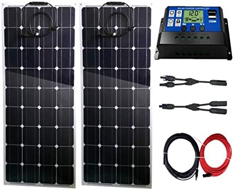 AUECOOR 200 Watt Solar System Kit / 2 PCS Solar Panel biegbar Flexible Solar Panel mit Solar Laderegler Kabel Akku Ladegerät für Wohnmobil Boot Kabinenzelt Auto Off-Grid
