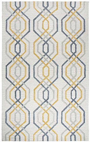 Rizzy Home Lancaster Collection Wool Area Rug, 2 6 x 8 , Cream Gray Geometric