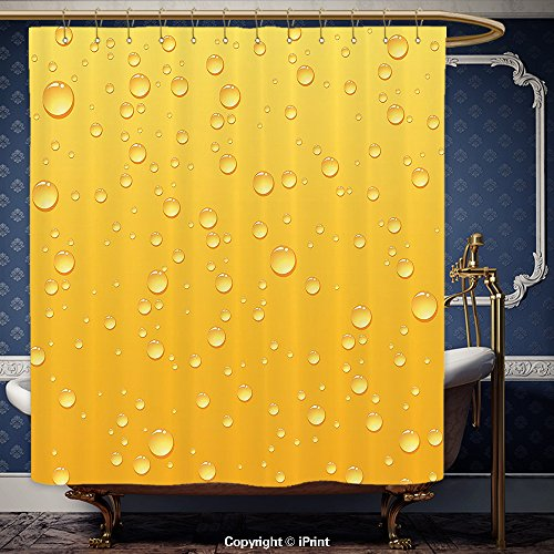 iPrint 108x72 Inch Shower Curtain Yellow Decor Yellow Ombre Background Like Beer in a Glass with Water Drops Graphic Art Prints Yellow Polyester Bathroom Accessories Home Decoration