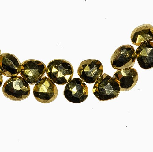 Gold Pyrite Briolette Heart Faceted Beads Mystic 6.5mm - Beads Heart Briolette Faceted