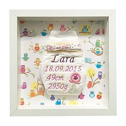 Pañales bordado en el marco para niña con chupete (búho ...