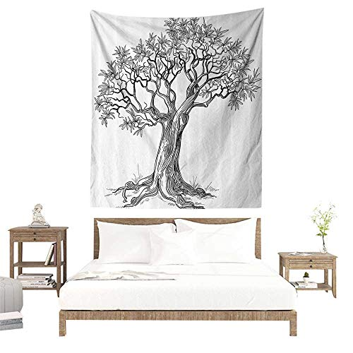 Woodland Cloth Growth Chart - alisoso Wall Hanging Tapestries,Nature,Olive Tree Figure in Hand Drawn Style Plant Woodland Forest Artistic Growth Picture,Black White W40 x L60 inch Bed Sheet Picnic Tapestry
