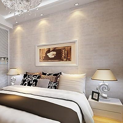 Homdox Wallpaper, Modern Faux Brick Stone Textured Wallpaper,3D Brick Blocks Vintage Wallpaper for Home Design and Room Decoration (Gray White) (Gray White)