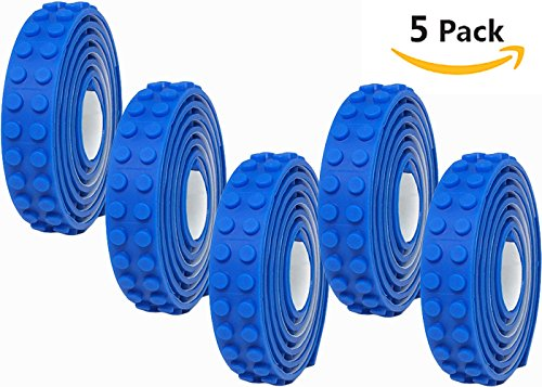 Blue Lego Tape Baseplate 5 Pack Set, 3.3 FT/Roll - Classic, Duplo, and Mega Block Compatible, Creative Building with Various Block and Brick Brands, Sticky Adhesive, Boys, Girls, Kids and Adults