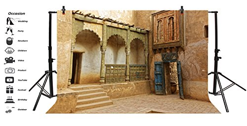 LFEEY 7x5ft Morocco Abandoned Town Backdrop Old Ancient Deserted City Ruin Architecture Building Grunge Stone Wall Photography Background Travel Photo Studio Props by LFEEY (Image #2)