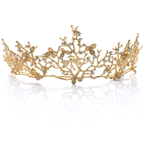 [Yean Wedding Crown and Tiara Flower Bridal Princess Queen Crown Baroque Vintage Rhinestone Headband for Bride and Bridesmaid Gold] (Gold Queen's Tiara)