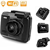STERIO 4K 2880x2160/P24 Dash Cam with Wi-Fi, GPS, 170 Degree Ultra Wide Angle, 2.4 LCD Dashboard Camera with G-Sensor, WDR, Loop Recording, Night Vision, Parking Mode, Motion Detection