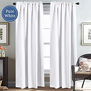 H.VERSAILTEX White Curtains Room Darkening Curtains Thermal Insulated Window Drapes for Window 52 x 84 inch, Back Tab/Rod Pocket - Set of 2 Panels