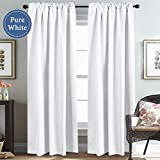 #4: White Curtains Room Darkening Blackout Curtains Thermal Insulated Window Drapes for Window 52 x 84 inch, Back Tab / Rod Pocket - Set of 2 Panels