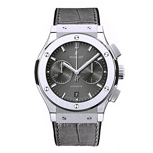 Hublot Men's 45mm Grey Alligator Leather Band Titanium Case Automatic Analog Watch 521.NX.7071.LR