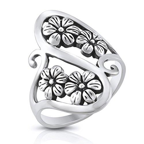 Sterling Silver Floral Filigree Flower Vine Ring - Size 9