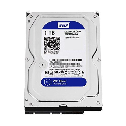 Western Digital(WD) BLUE Deskptop 1TB( 1Terabyte) 3.5''Hard Disk Drive, 5400~7200RPM, SATA3 ( 6.0GB/s), 64MB Cache, IDEAL for PC/Mac/CCTV/NAS/DVR/Raid and SATA Applications, 1YR Warranty (Blue) by WDC