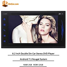 "Latest Andorid 7.1 Double Din Car Stereo Octa Core Car CD DVD Player In Dash GPS Navigation with 6.2"" HD Touchscreen Support Bluetooth/WiFi/USB/SD/AM/FM/Video out/Subwoofer/Backup Camera Input"