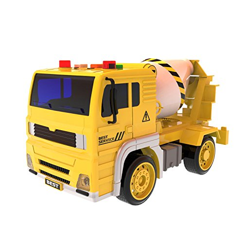 Cement Truck Toys Friction Powered Vehicle Yellow and White Builder for Kids Machine Shop Car for Boys with Light and Sound 4 Wheels 1:16 Advanced Simulation Model-Engineering Series