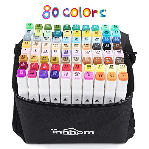 80 Colors Art Markers for Kids innhom Dual Tip Markers Set for Kids Adults Permanent Marker Pens Professional Perfect Art Supplies for Kids Adult Coloring Sketching Card Making
