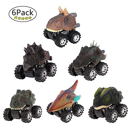 LTCtoy Dinosaur Toys Boys - Pull Back Dinosaur Cars (6 Pack),Animals Dino Toys,Dinosaur Cars Big Tire Wheel 3-15 Year Old Boys Girls Racing Gifts Kids,Including T-rex, Triceratops