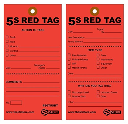 """5S Red Tags W/12"""" Wire, 100 Pk - Buy Online In UAE."""