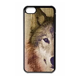 iPhone 5C Case,Wooden Wolf Personalized Design Cover With Hign Quality Hard Plastic Protection Case