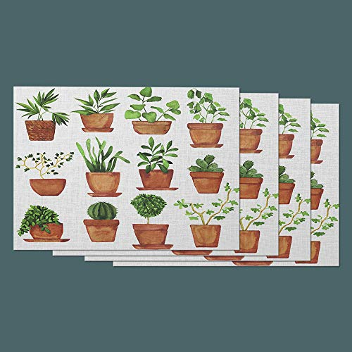 Moslion Plant Place Mats Set of 4. Nature Botanical Plants Pot Herb Leaves Foliage Cotton Linen Placemats 12x18 Inch for Dinner Kitchen Table Dining -