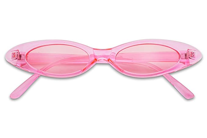19b7f819708ea Small Ultra Slim Colorful Translucent Vintage Oval Cat Eye Sun Glasses  (Crystal Pink)