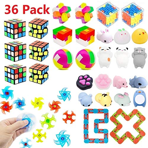 Birthday Party Puzzle - Party Favors for Kids Toy Bundle,Mochi Squishy,Puzzles,Magic Cube,Twister Toys for Birthday Party,Classroom Rewards,Carnival Prizes,Pinata Filler,Treasure Box,Goodie Bag Filler,Prize Box