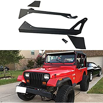 Amazon turbo sii straight 50 inch led light bar upper ausi 1987 1995 jeep wrangler yj 4wd upper roof windshield mounting mount brackets pair aloadofball Images