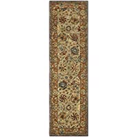 Safavieh Anatolia Collection AN521A Handmade Traditional Oriental Green and Gold Wool Runner (23 x 8)