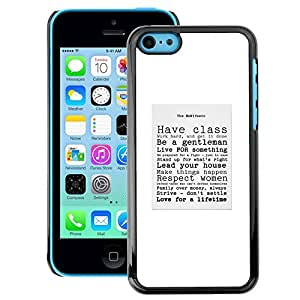 A-type Arte & diseño plástico duro Fundas Cover Cubre Hard Case Cover para iPhone 5C (Classy Gentleman Sir Text Poster Quote)