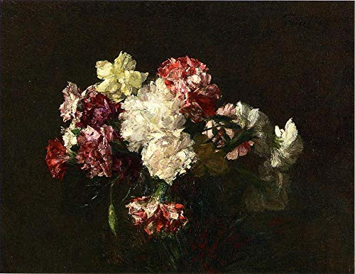$50-$2000 Hand Painted Art Paintings by College Teachers - Carnations Henri Fantin Latour Oil Painting for Wall Art Decor -Size 09
