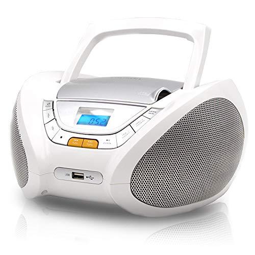 LAUSON CP443 CD-Speler met USB | Boombox Stereosysteem CD-Radio Draagbaare | Kinderradio met CD en MP3-Speler USB Port…